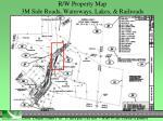 r w property map 3m side roads waterways lakes railroads