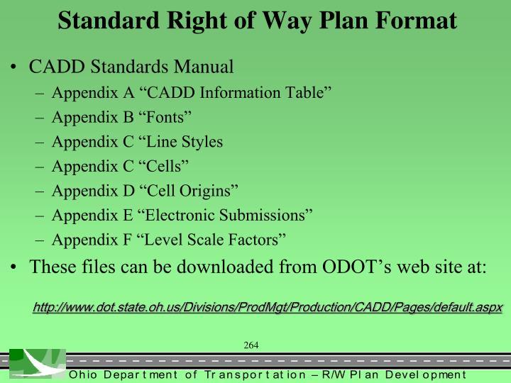 Standard Right of Way Plan Format