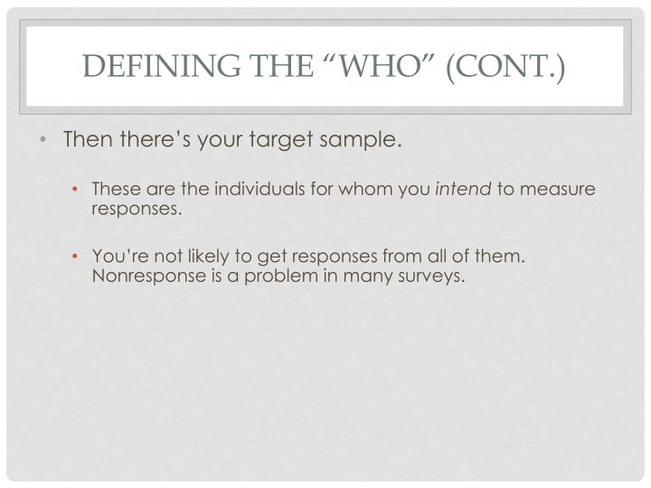 """Defining the """"Who"""