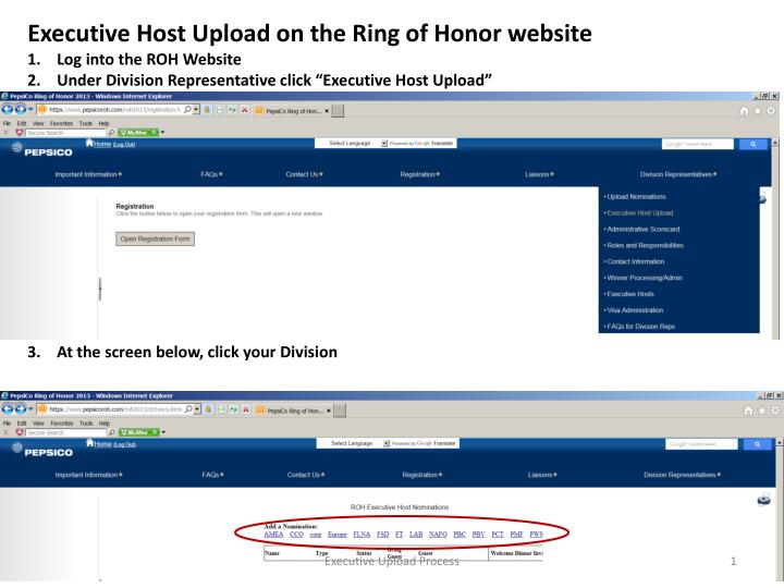 Executive Host Upload on the Ring of Honor website