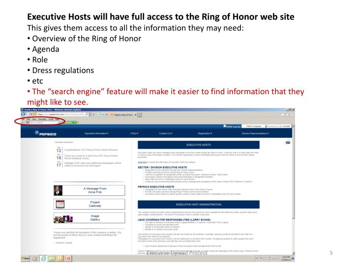 Executive Hosts will have full access to the Ring of Honor web site