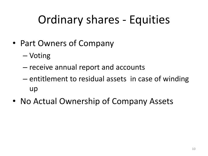 Ordinary shares - Equities