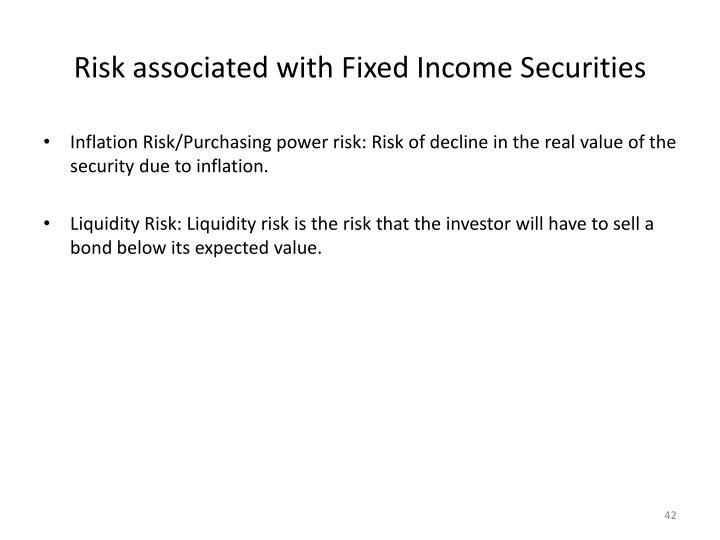 Risk associated with Fixed Income Securities