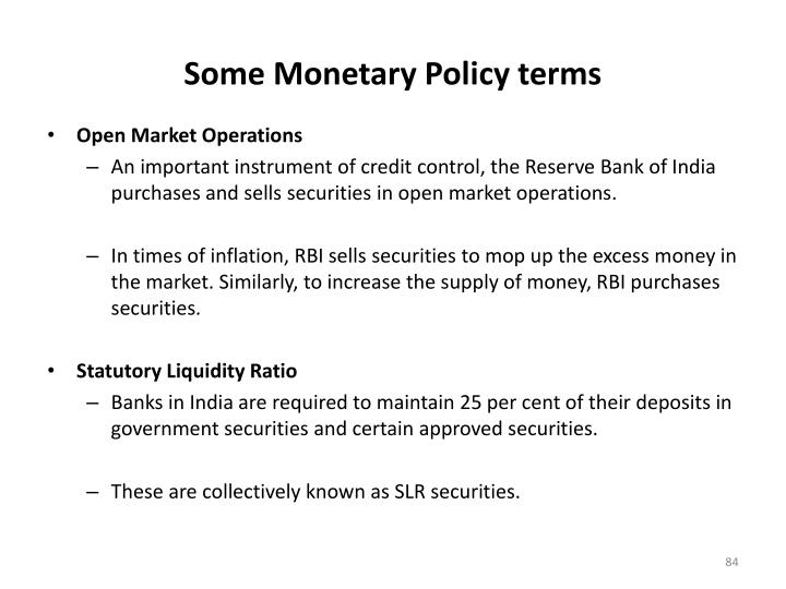 Some Monetary Policy terms