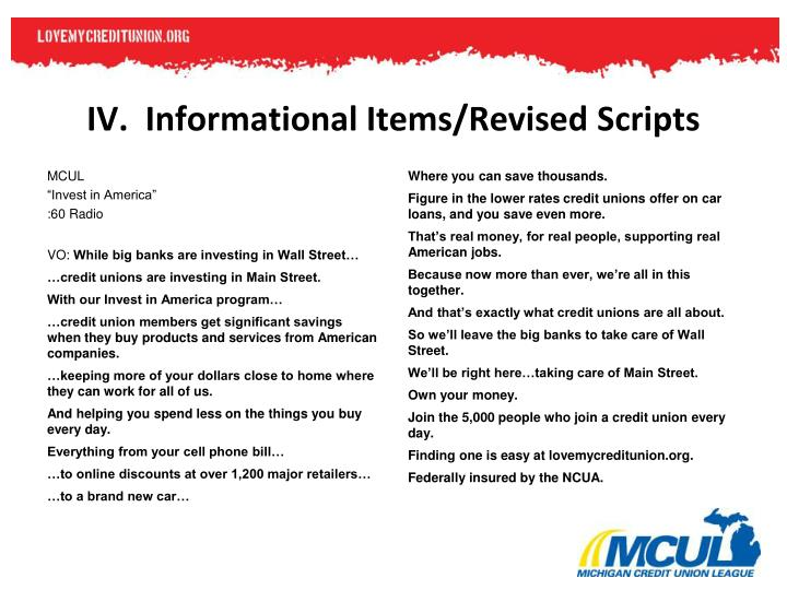 IV.  Informational Items/Revised Scripts