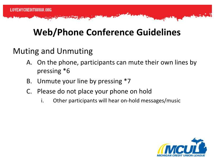 Web/Phone Conference Guidelines