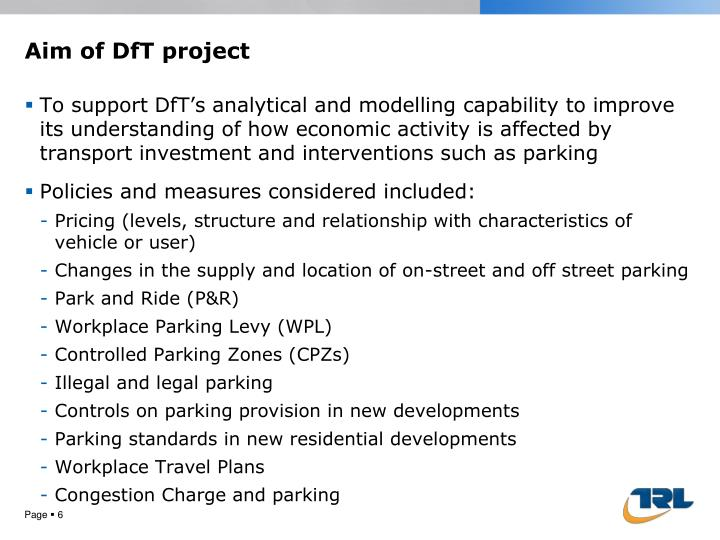 Aim of DfT project