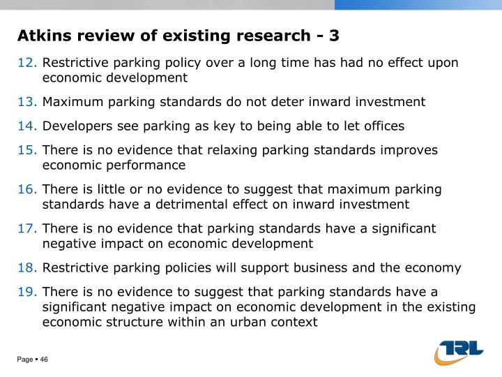 Atkins review of existing research