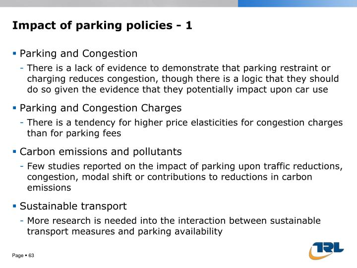 Impact of parking policies - 1