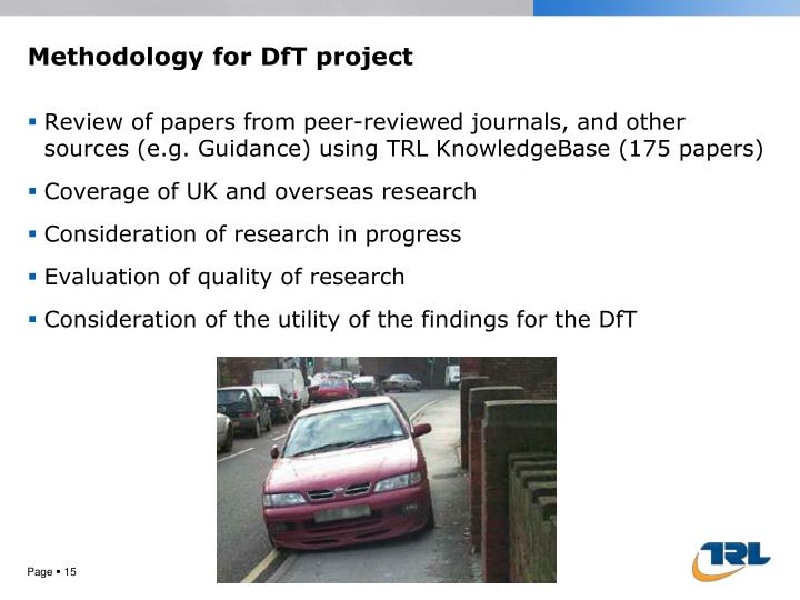 Methodology for DfT project