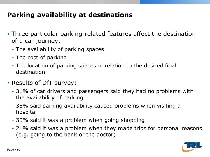 Parking availability at