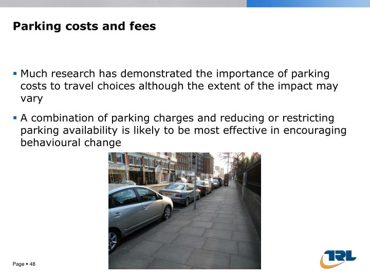 Parking costs and fees