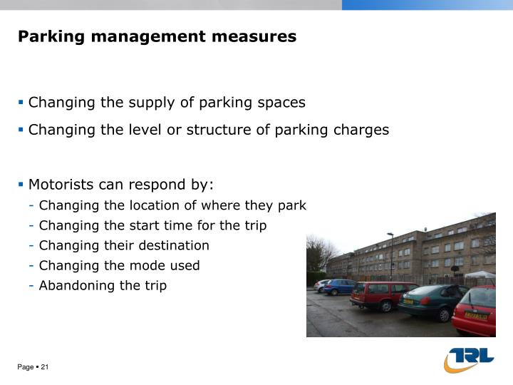 Parking management measures