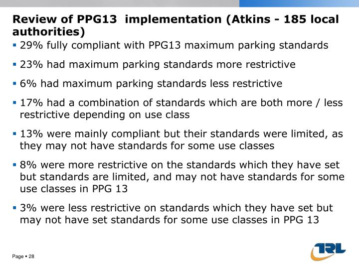 Review of PPG13  implementation (Atkins -