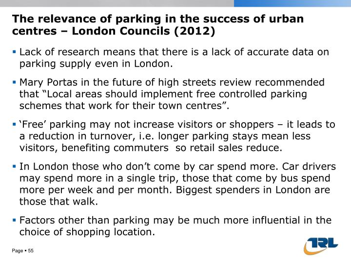 The relevance of parking in the success of urban