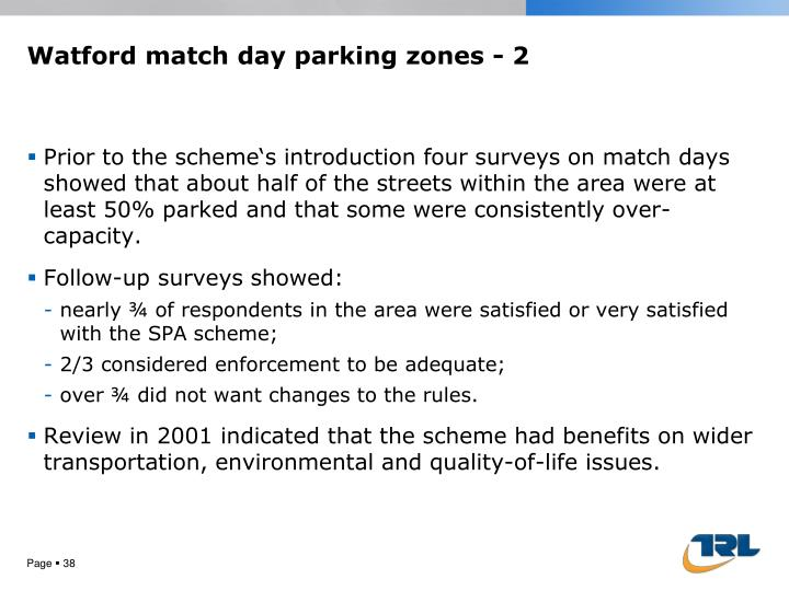 Watford match day parking