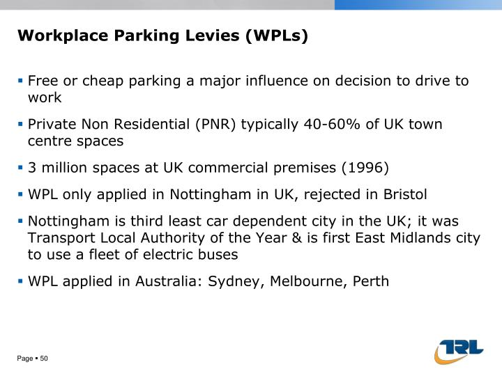 Workplace Parking Levies (