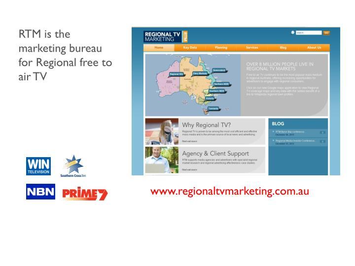 RTM is the marketing bureau for Regional free