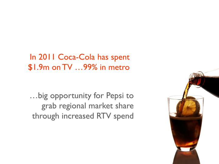 In 2011 Coca-Cola has spent $1.9m on TV …99% in metro