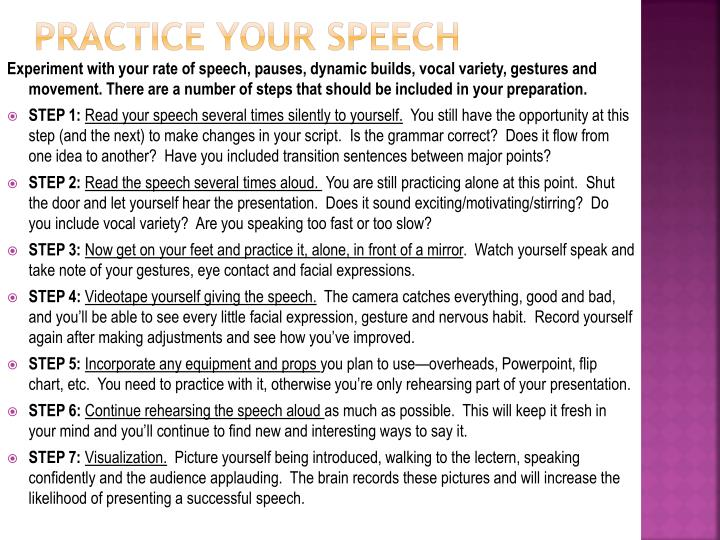 PRACTICE YOUR SPEECH