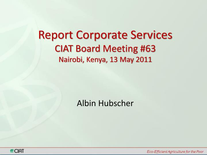 Report Corporate Services