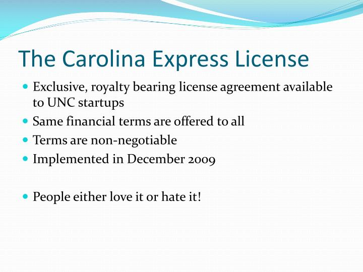 The Carolina Express License