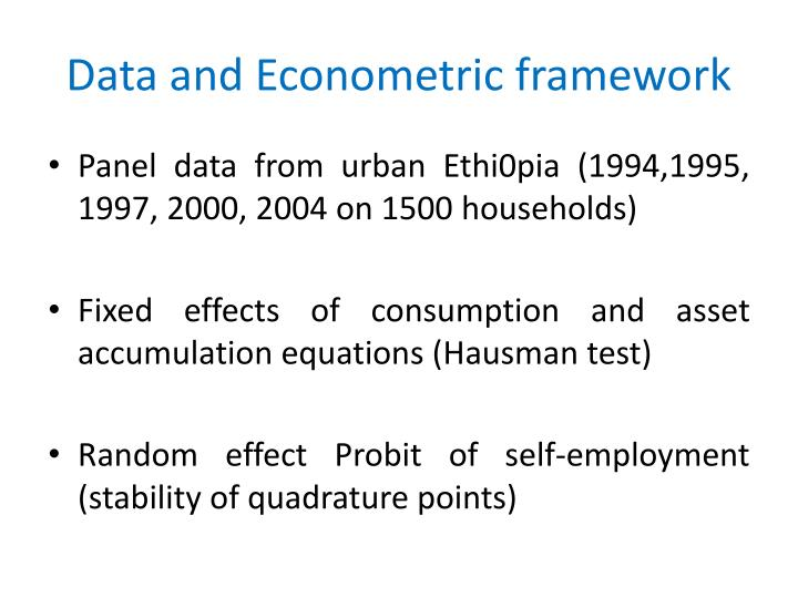 Data and Econometric framework