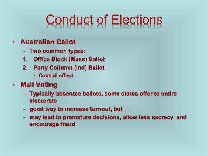 Conduct of Elections