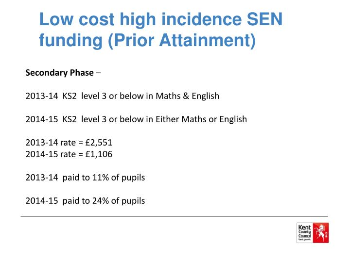 Low cost high incidence SEN funding (Prior Attainment)