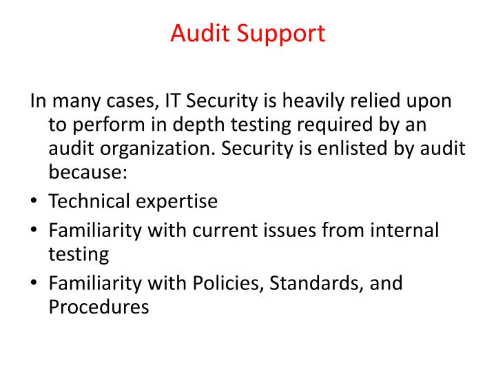 Audit Support