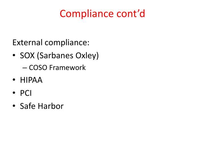 Compliance cont'd
