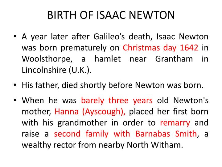 BIRTH OF ISAAC NEWTON