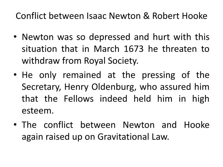 Conflict between Isaac Newton & Robert Hooke