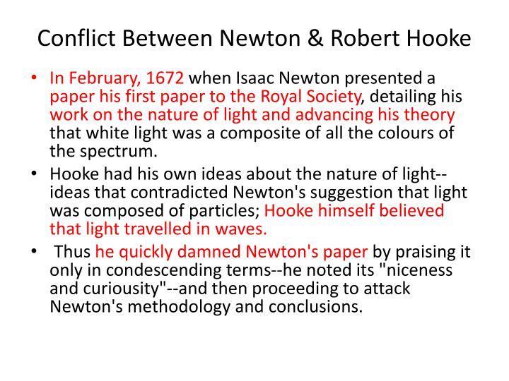 Conflict Between Newton & Robert Hooke