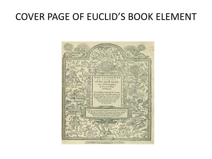 COVER PAGE OF EUCLID'S BOOK ELEMENT