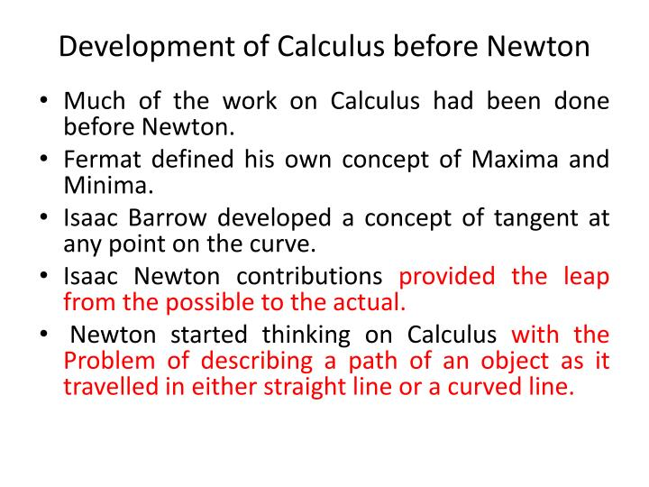Development of Calculus before Newton