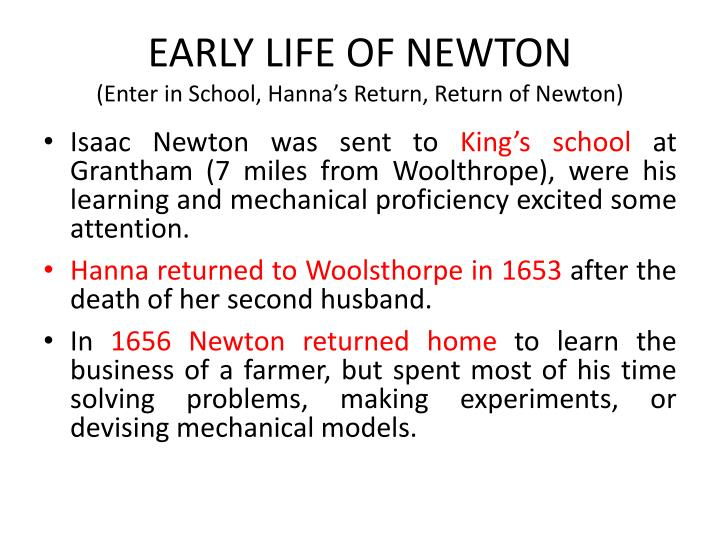 EARLY LIFE OF NEWTON