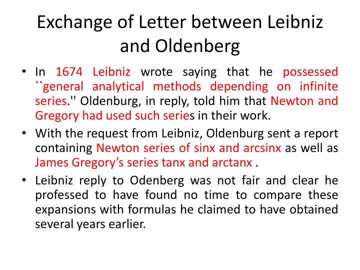Exchange of Letter between Leibniz and