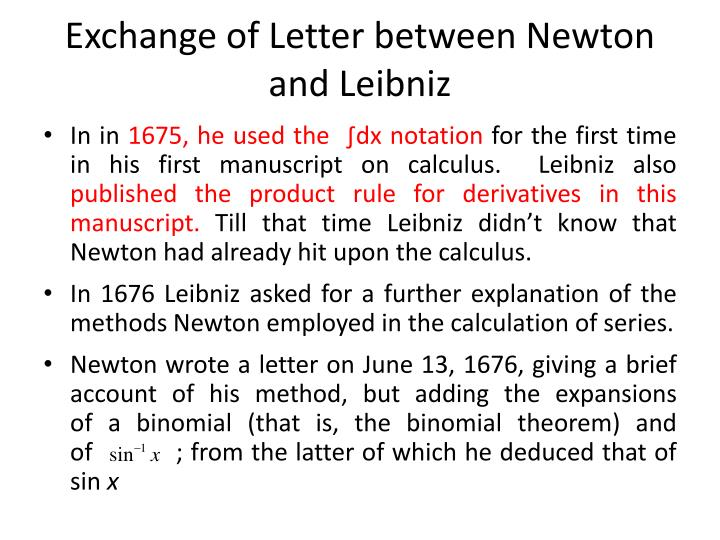 Exchange of Letter between Newton and Leibniz