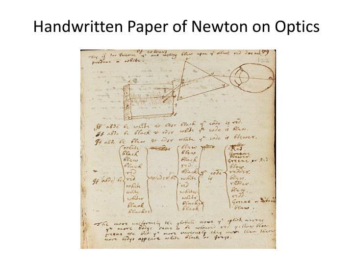 Handwritten Paper of Newton on Optics