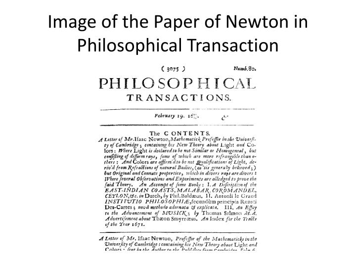 Image of the Paper of Newton in Philosophical Transaction