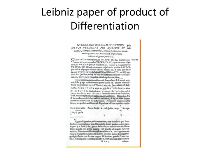 Leibniz paper of product of Differentiation