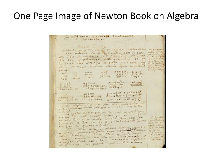 One Page Image of Newton Book on Algebra