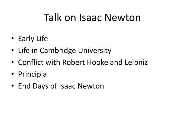 Talk on isaac newton