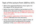 topic of the lecture from 1669 to 1671