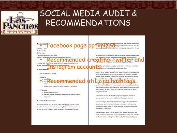 Social Media Audit & Recommendations