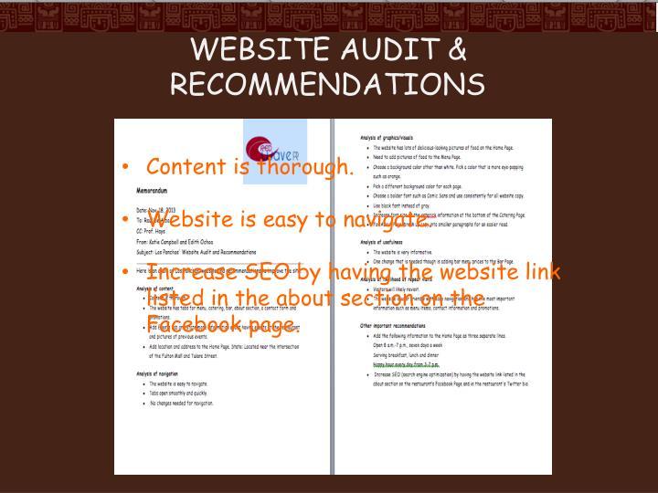 Website audit & recommendations