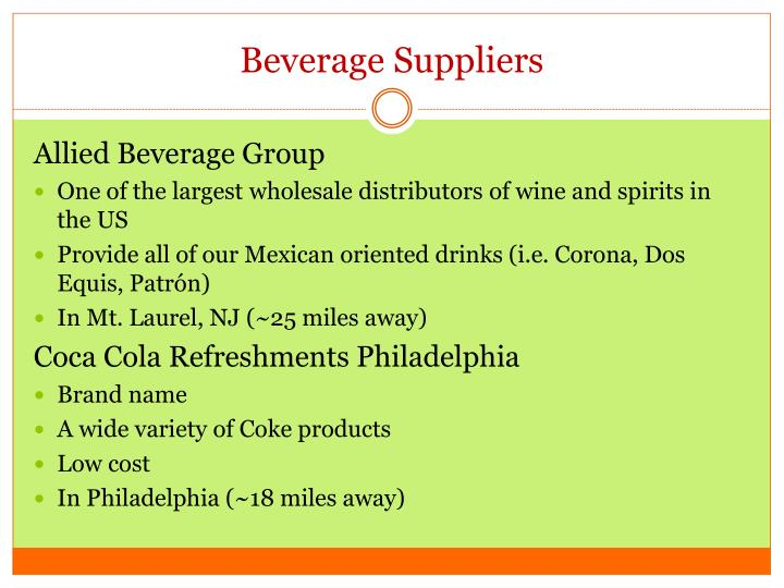 Beverage Suppliers