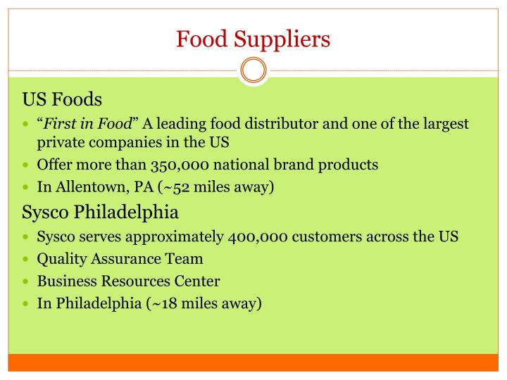 Food Suppliers