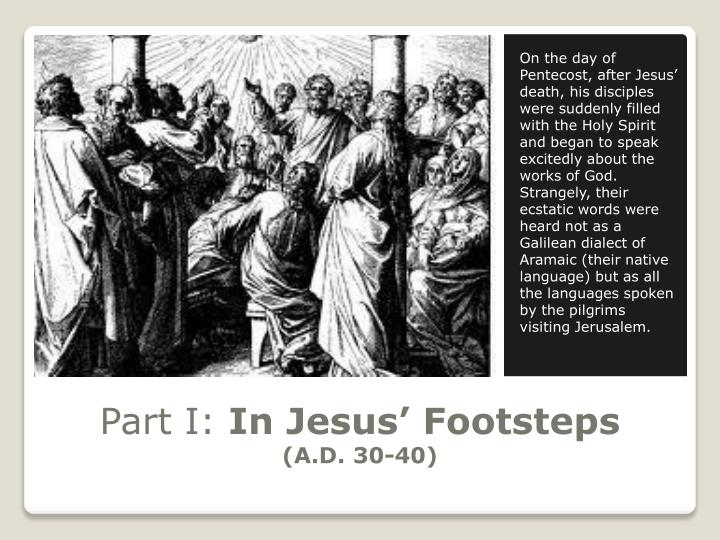 Part i in jesus footsteps a d 30 40